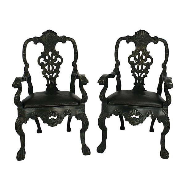 Portuguese Baroque Revival Bottle Green Painted Armchairs circa 1900