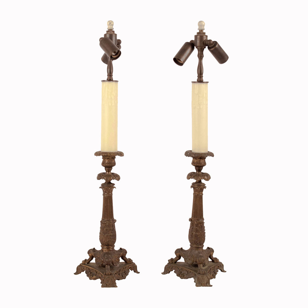 Pair of Bronze Candlesticks France Circa 1825, Now Mounted as Lamps