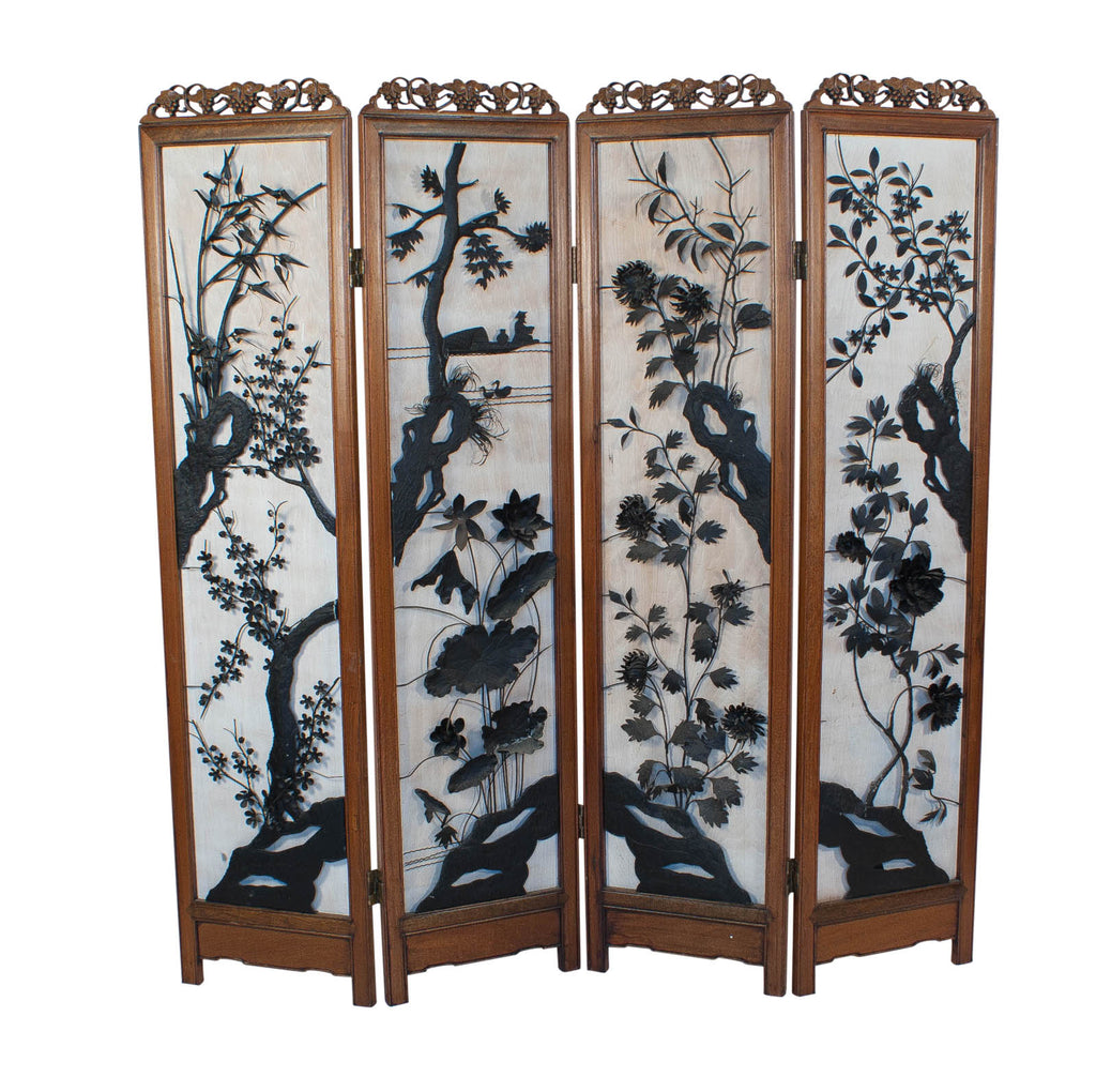 Asian 4 Panel Screen with Iron Decoration, China Circa 1880