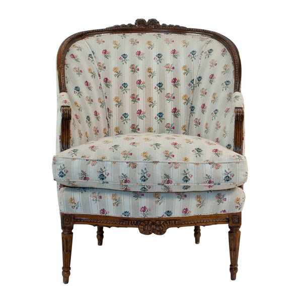 1880s French Fruitwood Louis XVI Style Bergere Chair