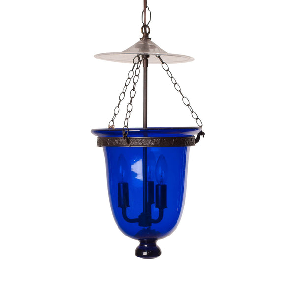 Antique Blue Glass Bell Jar Lantern, India Circa 1860