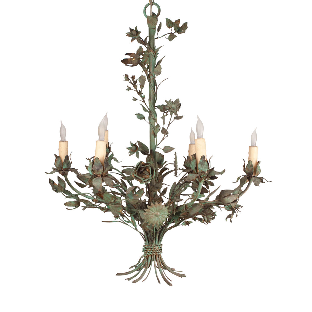 Painted Wrought Iron Flower Chandelier, Italy, circa 1900