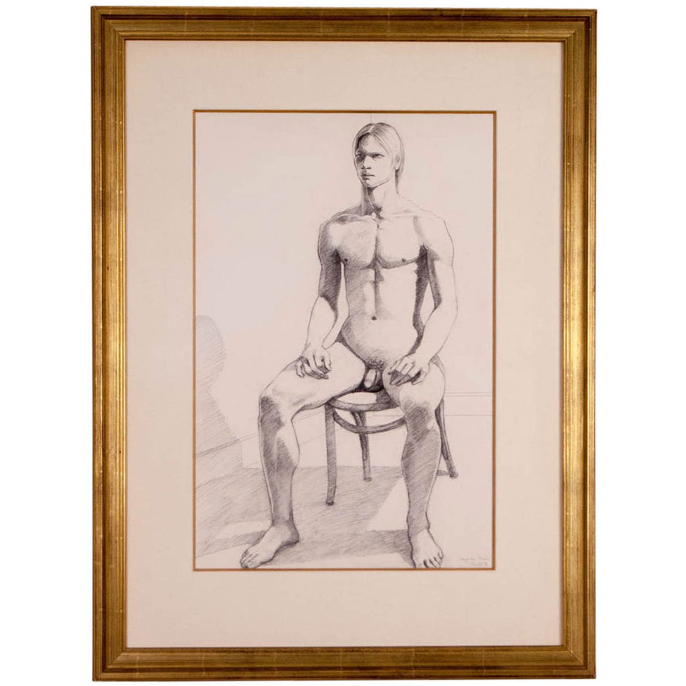 Seated Male Nude by Theoplhilus Brown, 1980