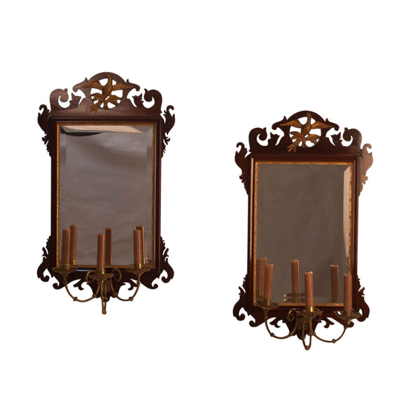 Pair of Chippendale Mirrors with Candle Arms, England circa 1890
