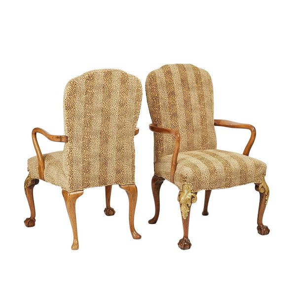George II Style English Armchairs, Circa 1890, A Pair