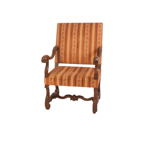Italian Baroque Walnut Armchair, Circa 18th Century