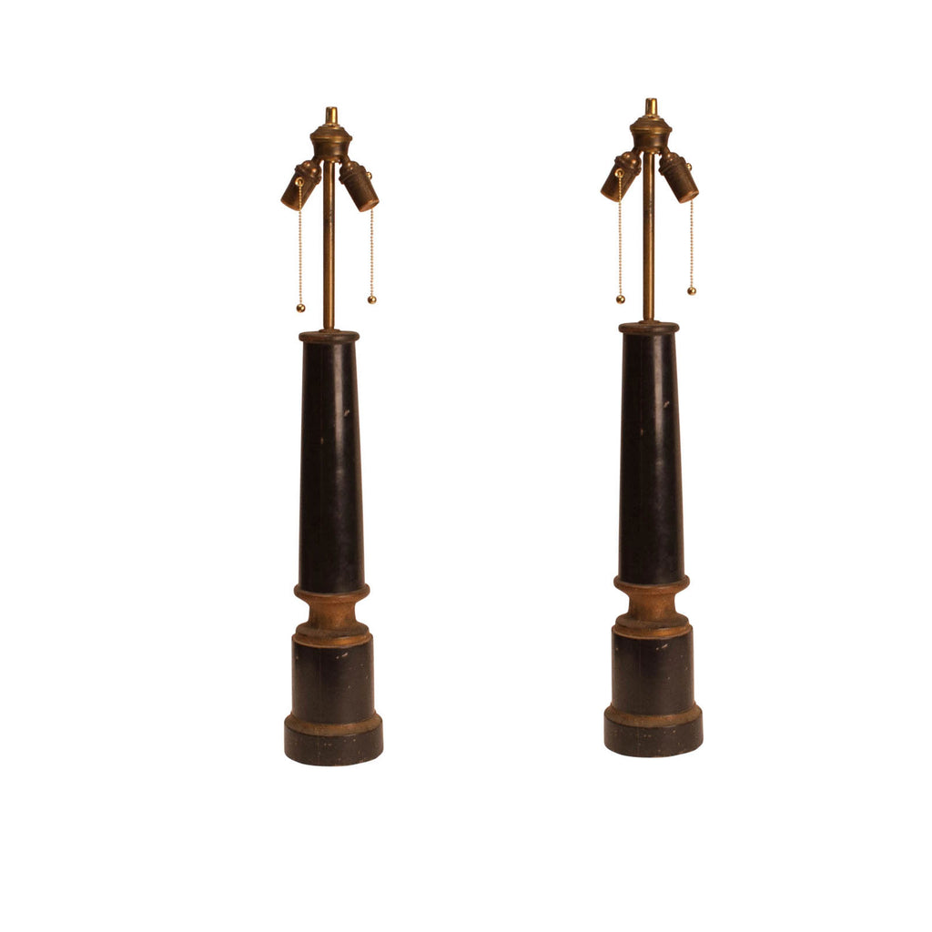 Pair of Ebonized Column Lamps