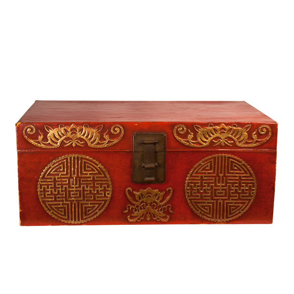 Chinese Export Red Leather Trunk, Circa 1780