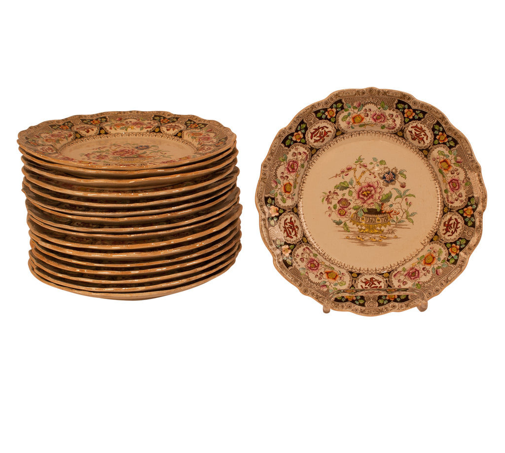 Set of 17 Ironstone Plates, England circa 1880