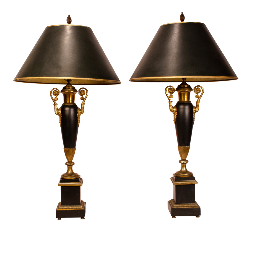 French Empire Style Tole lamps,  late 19th Century