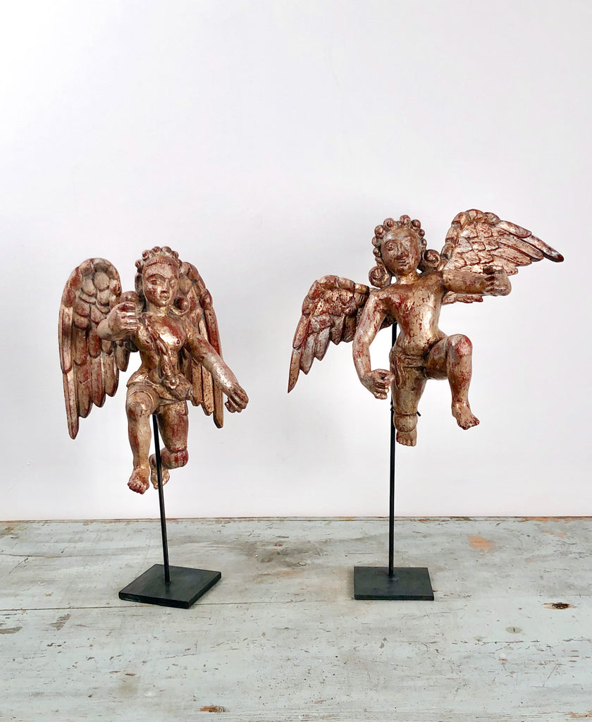 Pair of Silver Gilt Angels, Goa circa 1750