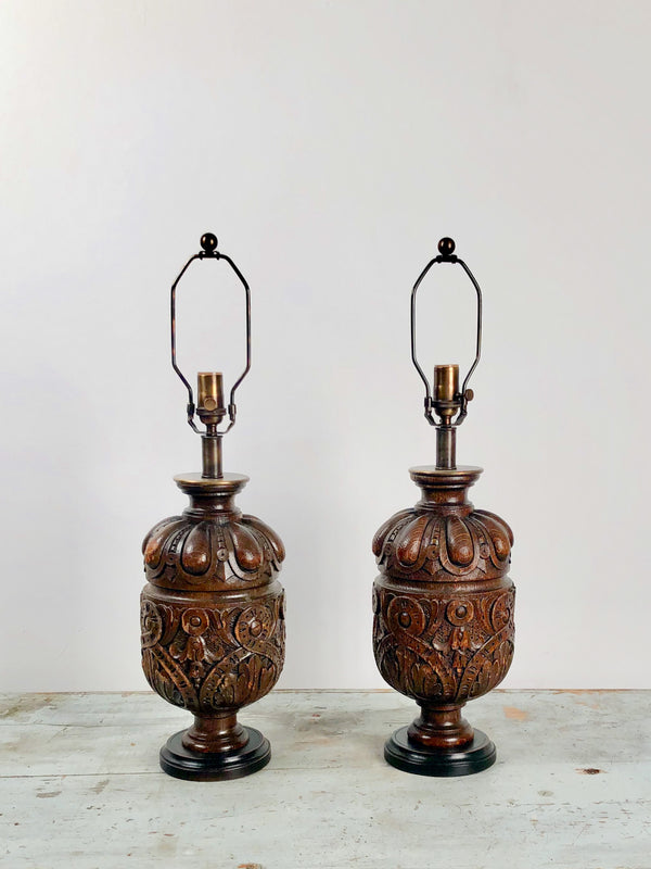 Oak Balustrade Lamps, 19th Century England
