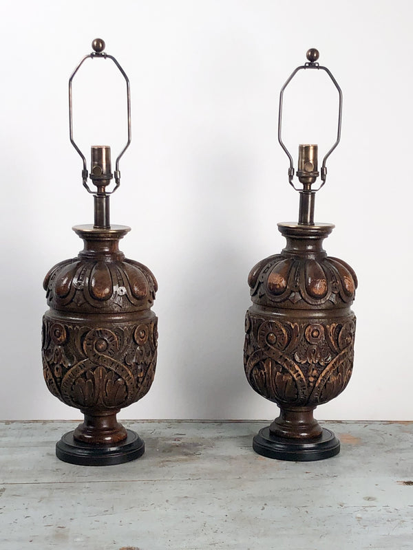 19th Century English Oak Balustrade Lamps