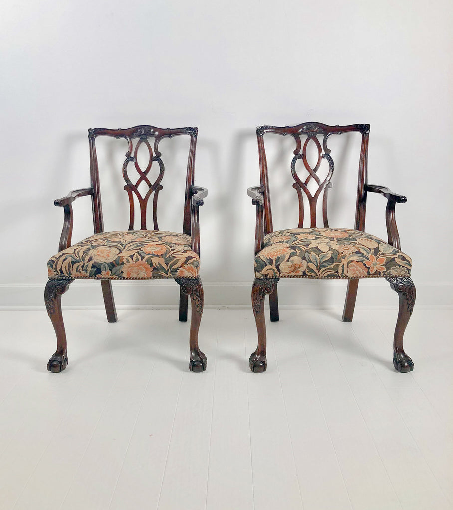 Pair of Vintage Chippendale Style Armchairs