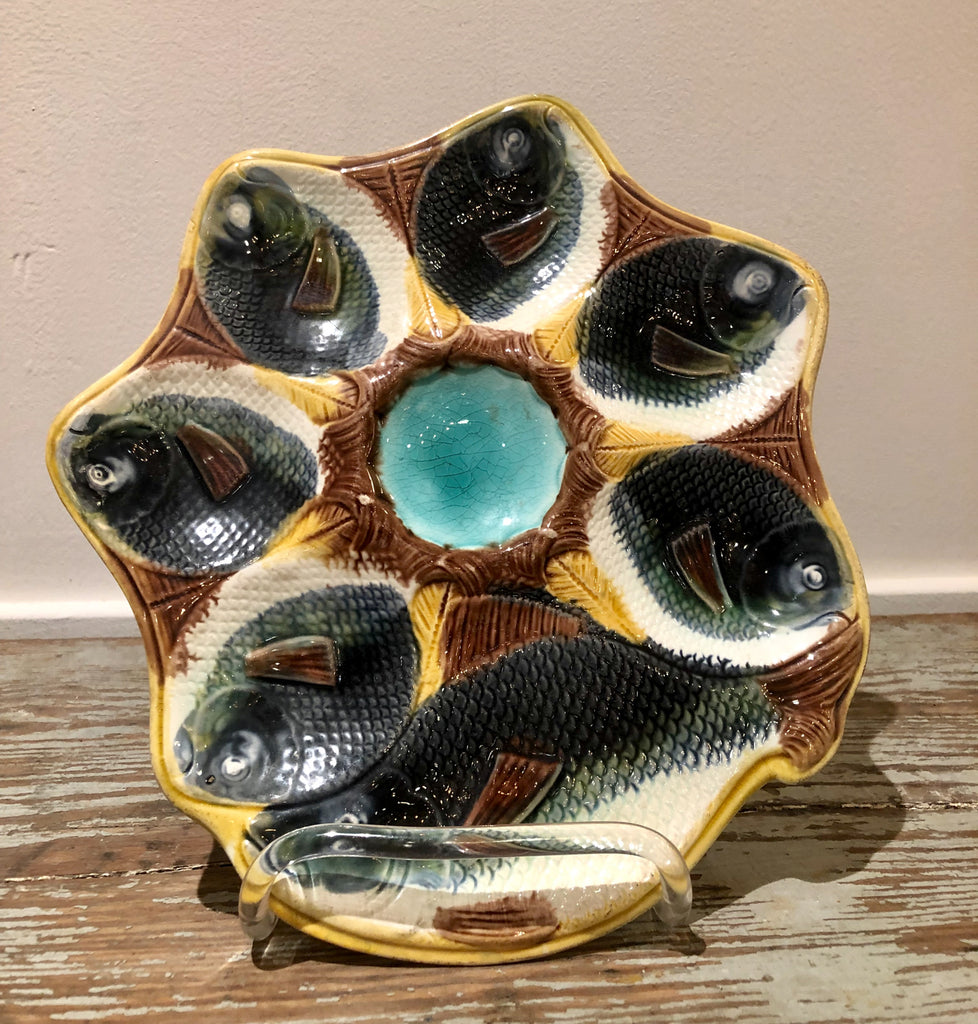 Majolica Oyster Plate with Fish, England circa 1880