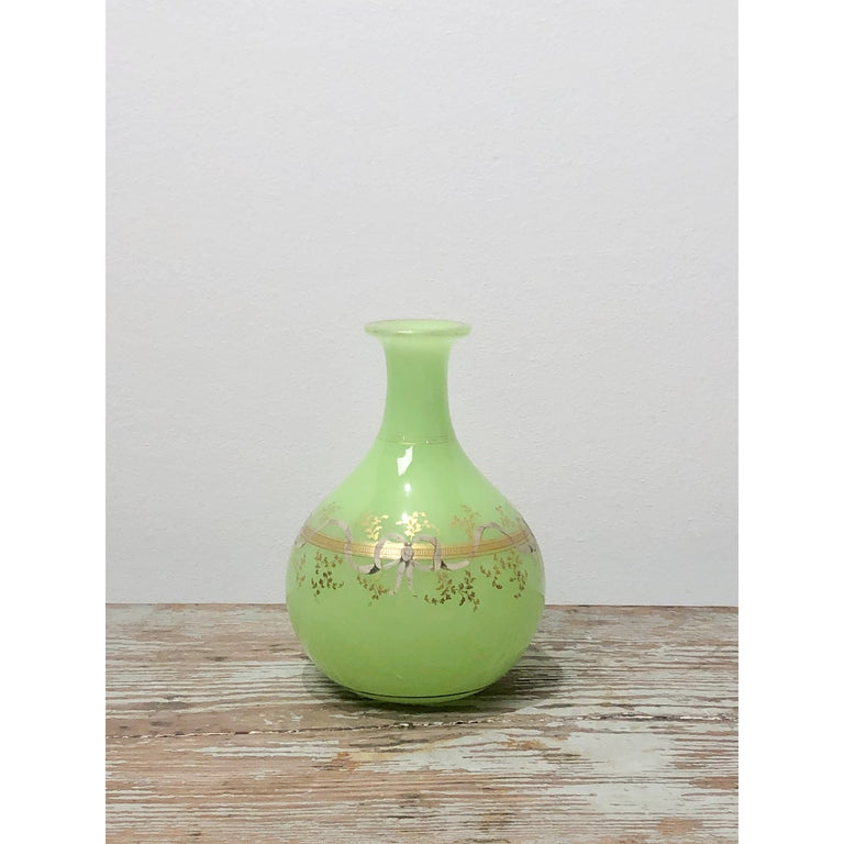 Green Opaline Glass Vase, France circa 1860