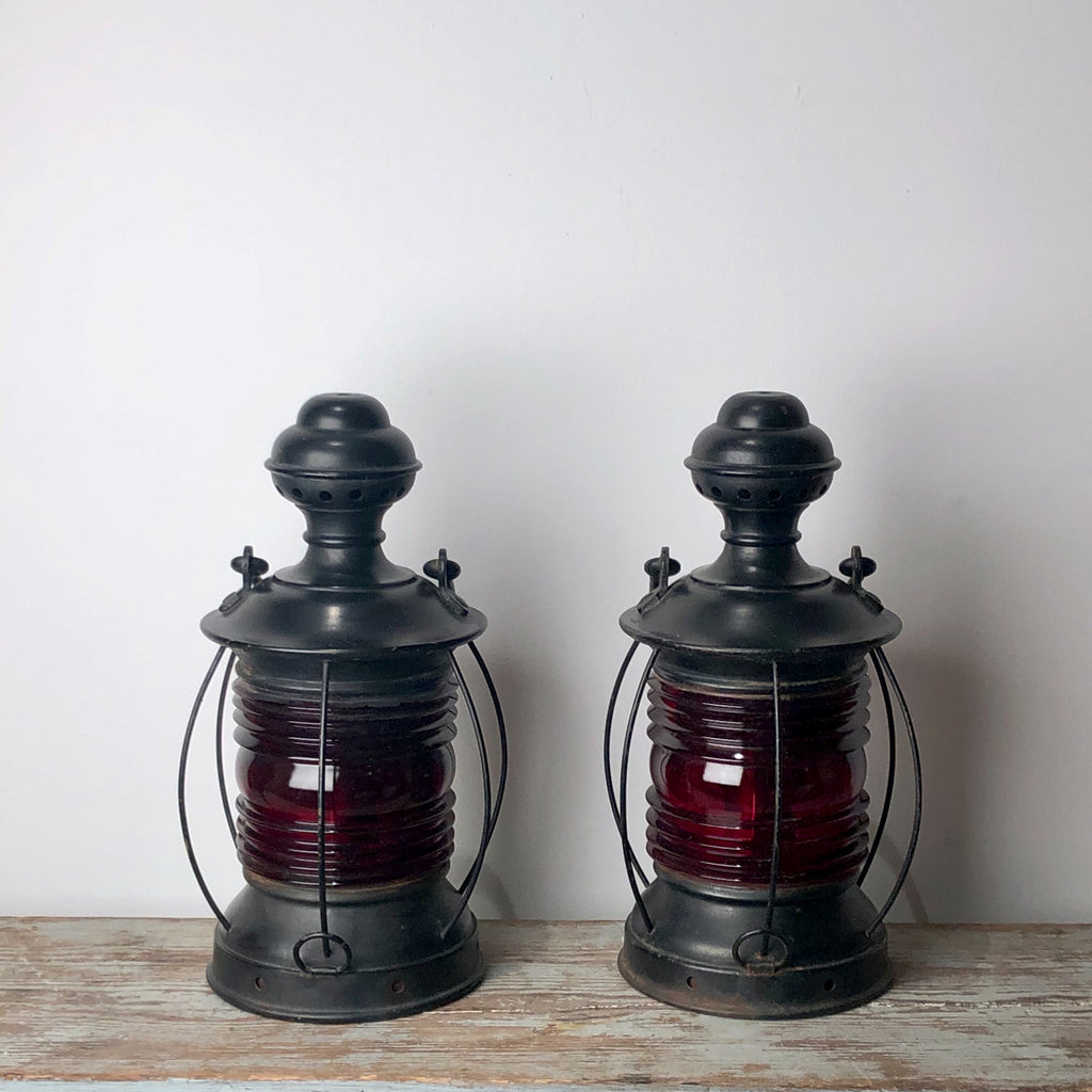 Pair of Red Glass Ship's Lanterns, circa 1900