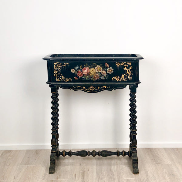 19th Century Lacquer and Painted Planter, circa 1890