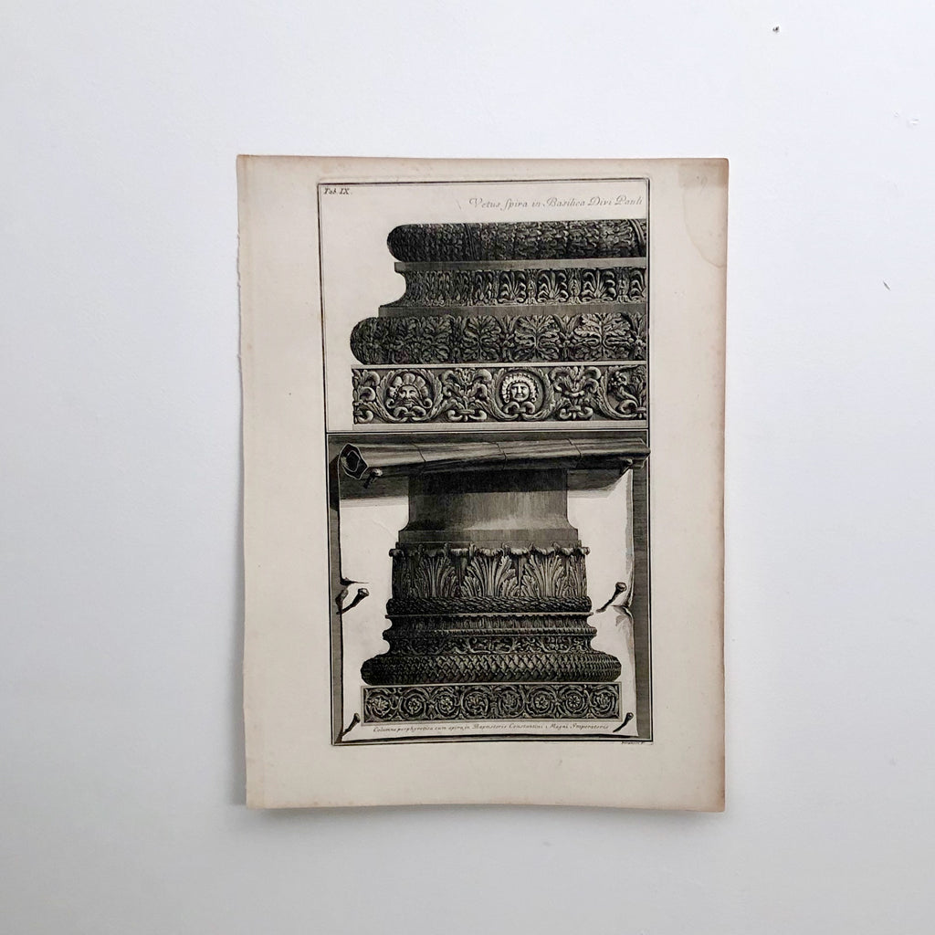 "Piranesi Engraving of ""Bases of 2 Columns"""