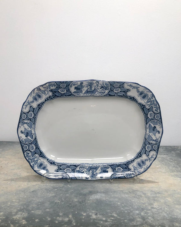 Staffordshire Blue and White Platter, England Circa 1880
