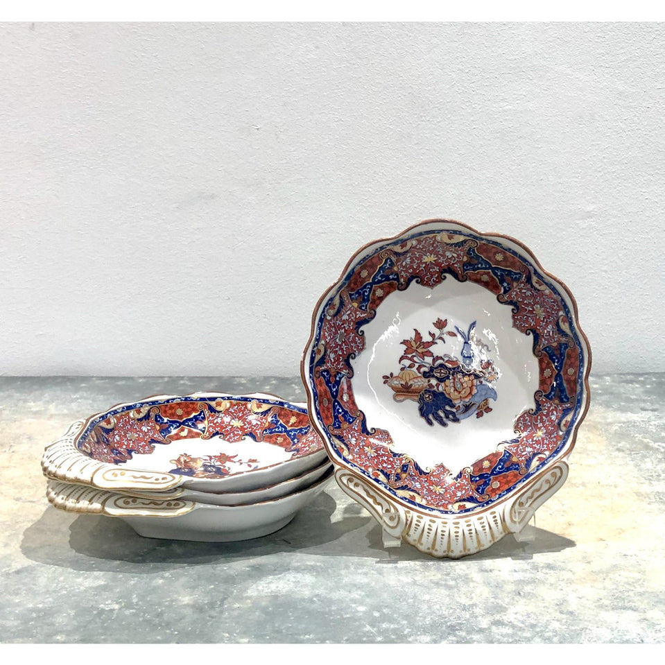 Spode Frog Pattern Shell Dishes, England circa 1820