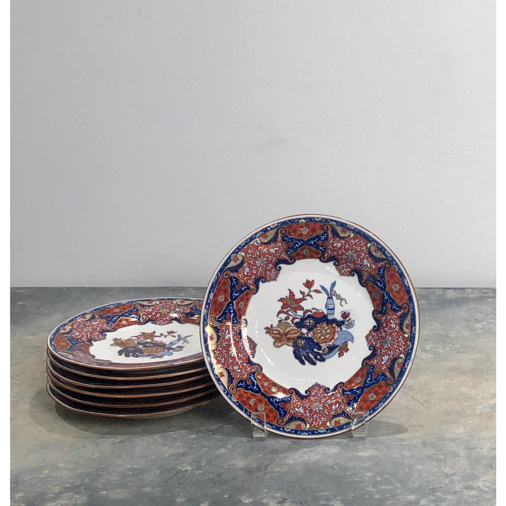 Set of 7 Spode Frog Pattern Plates, England circa 1820
