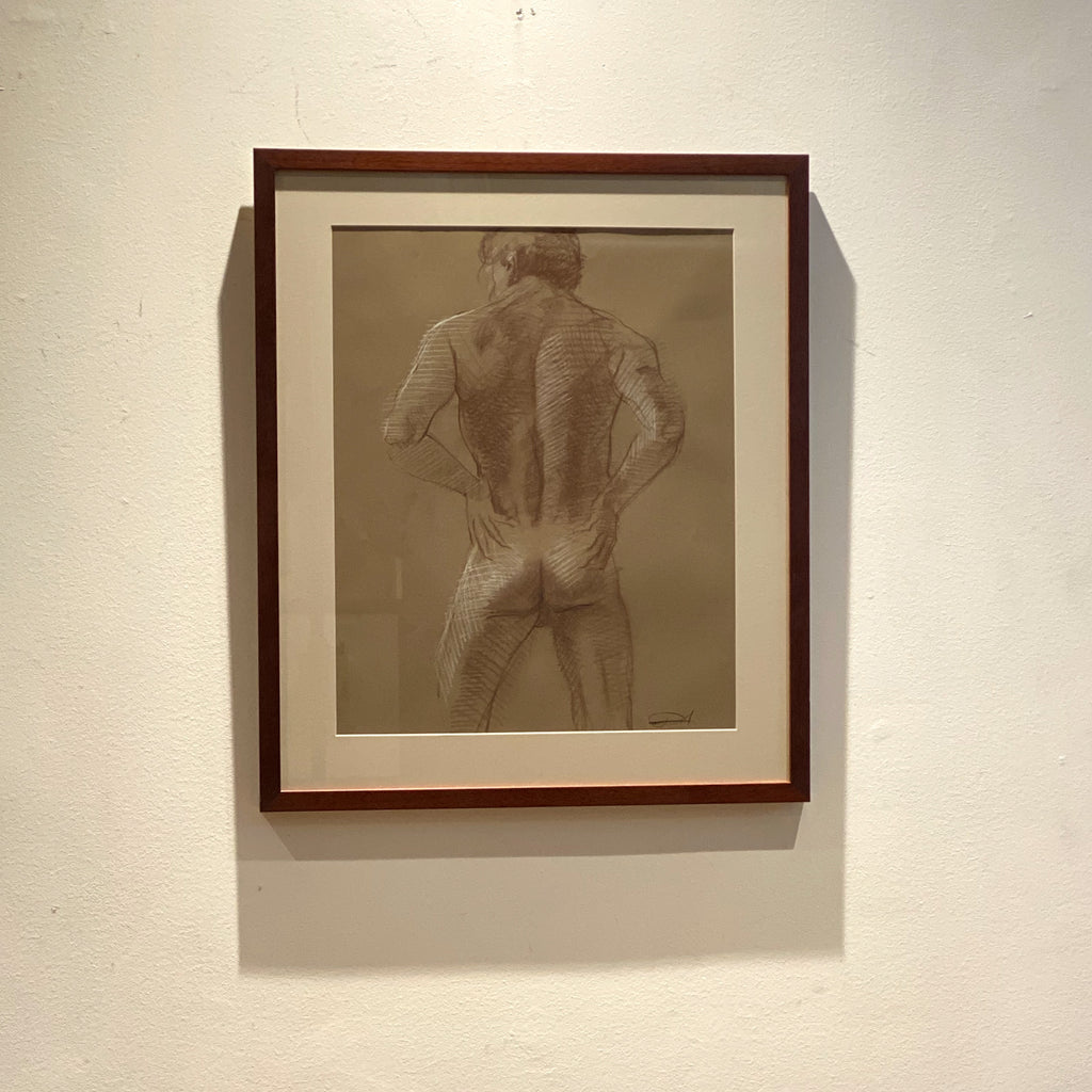 Signed Vintage Male Nude Pastel Rear View, American Circa 20th Century