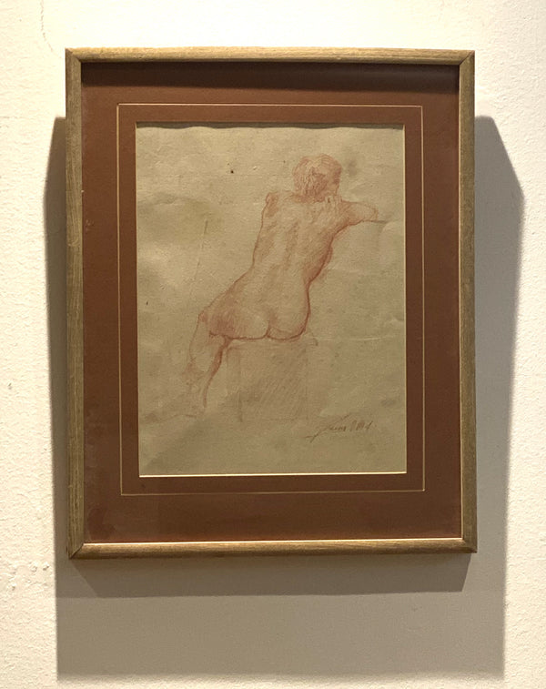 Signed Artist Sketch of a Seated Woman Rear View, American Circa 1900