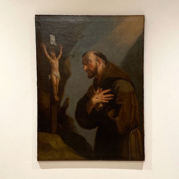 18th Century Framed Oil Painting of St. Francis