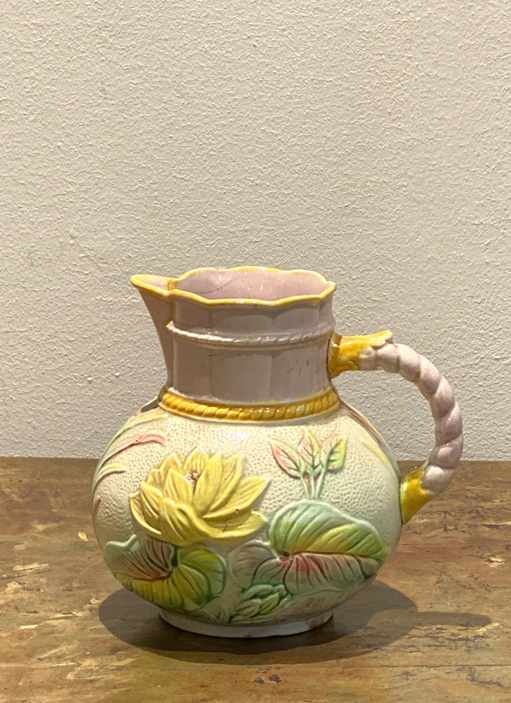 19th Century English Majolica Pitcher with Lotus