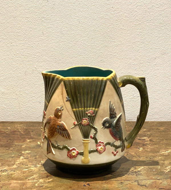 Majolica Pitcher with Birds, England Circa 19th Century