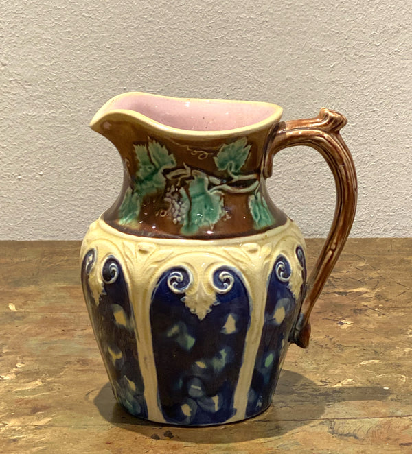 Majolica Pitcher with Grape Vine, England Circa 19th Century