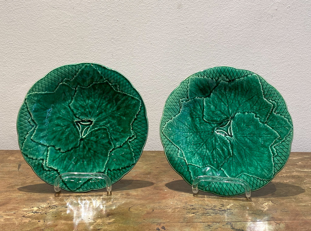 Pair of Majolica Ivy Plates, France Circa 19th Century
