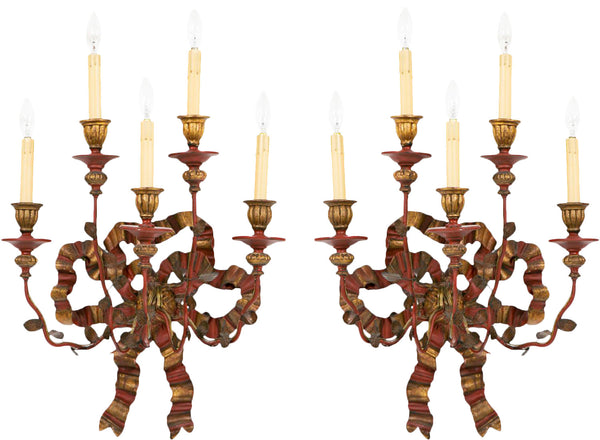 A Pair of Vintage Bow Sconces, Italy