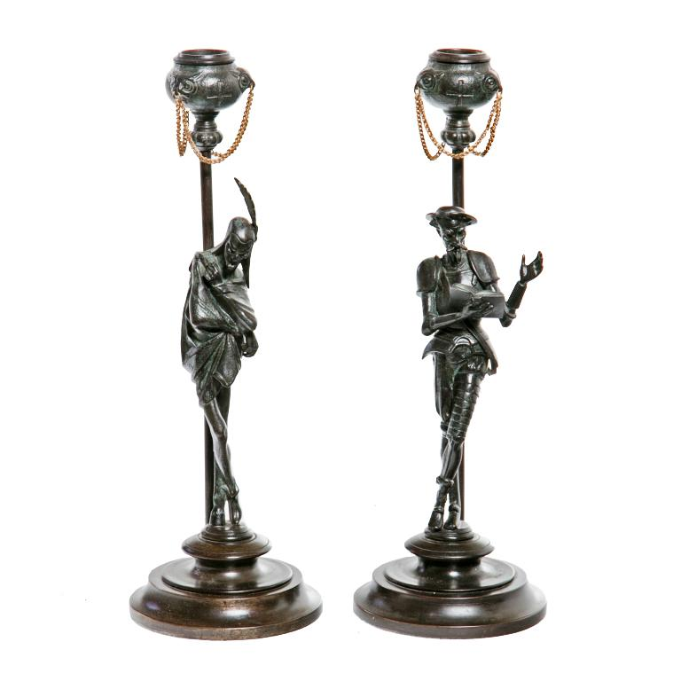19th Century Italian Bronze Candlesticks - A Pair