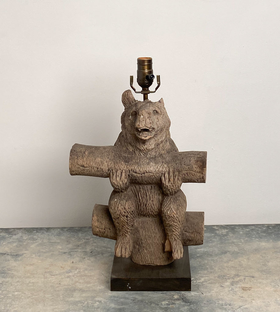 Weathered Black Forest Carved Wooden Bear Lamp, Swiss Circa 1920