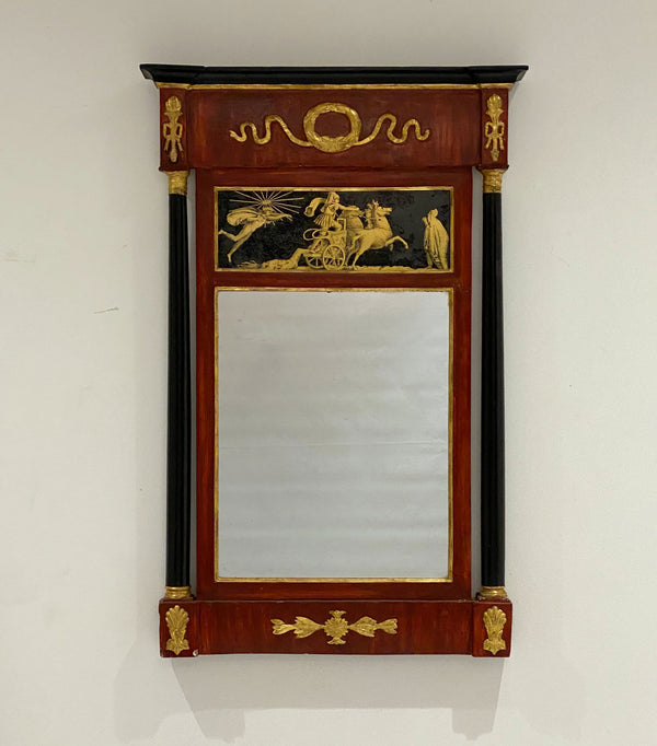 Italian Carved Painted & Gilt Mirror, Circa 1810