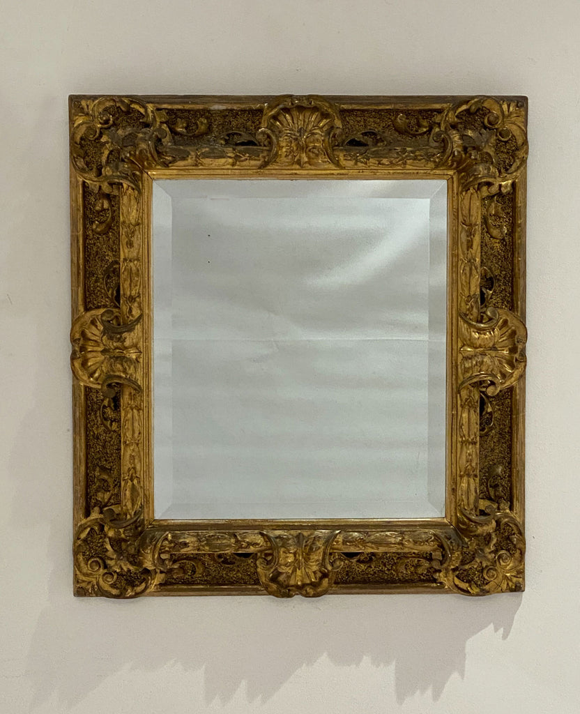 Italian Carved Wood Baroque Style Mirror, Circa 1840