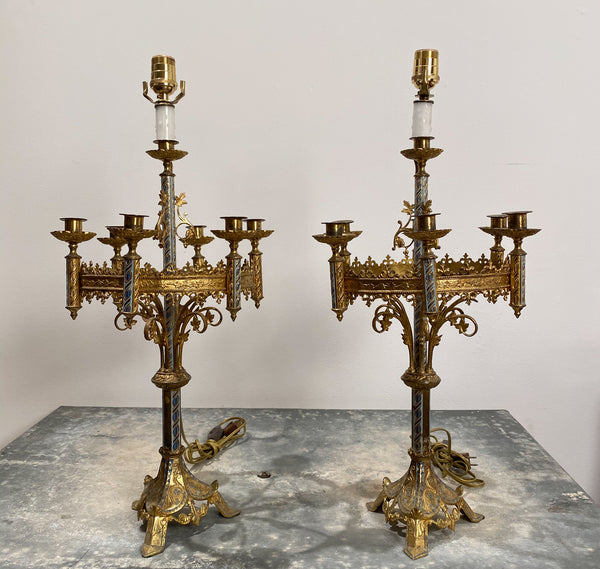 Pair of Candelabra Lamps, France Circa 1900