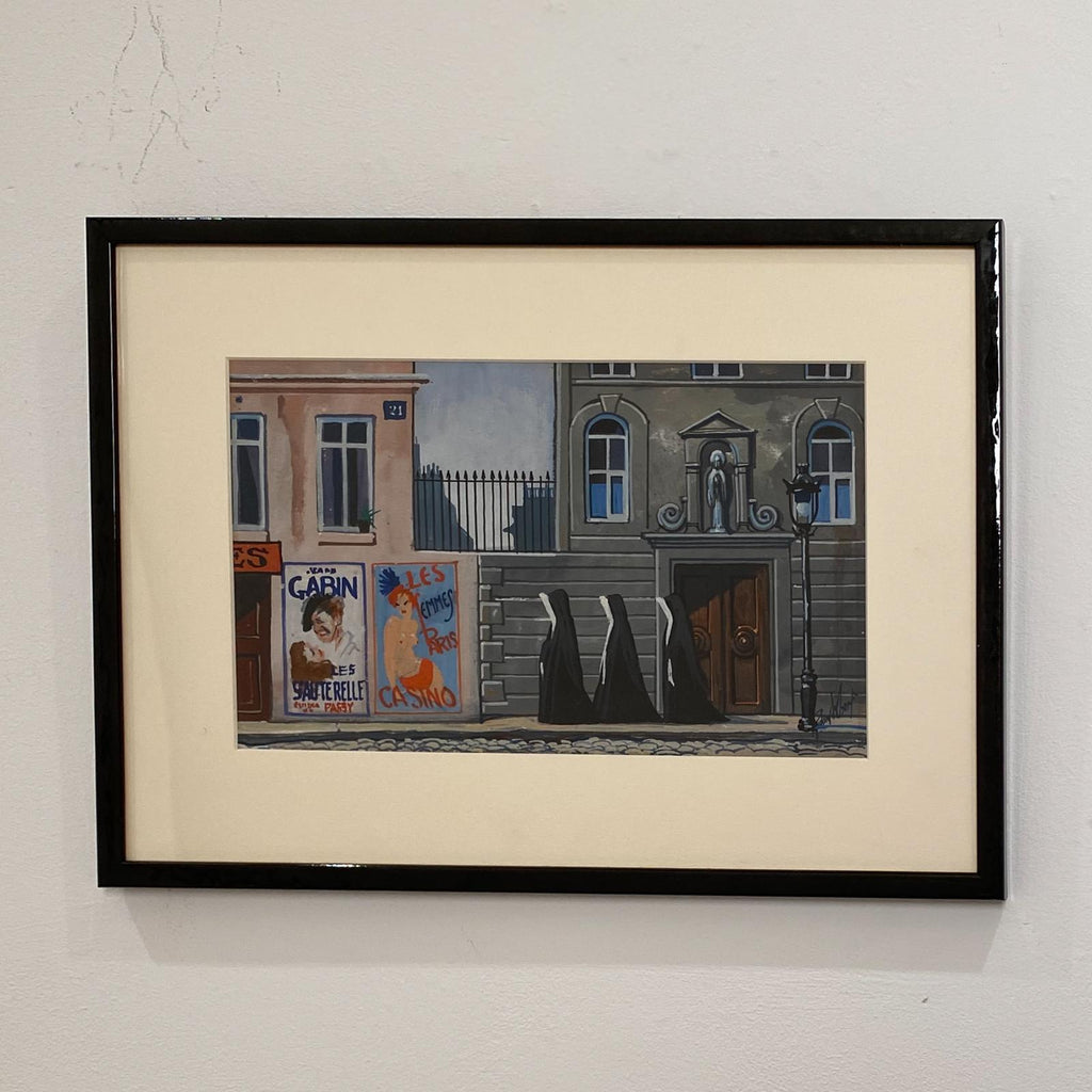Richard Wolf Painting of A Street Scene with Nuns, 20th Century American