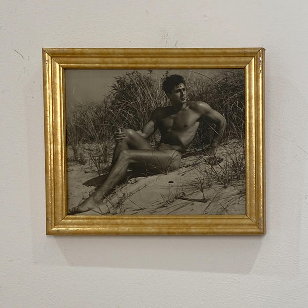 Vintage Black and White Photograph of Male Nude on Beach