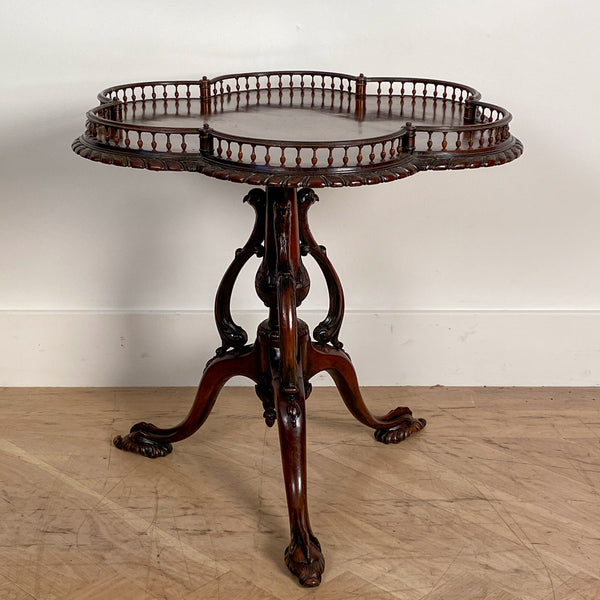 Chinese Chippendale Gallery Tea Table, England Circa 1900