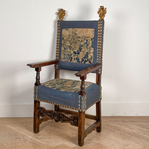 Baroque Armchair with Tapestry, Italy Circa 1690