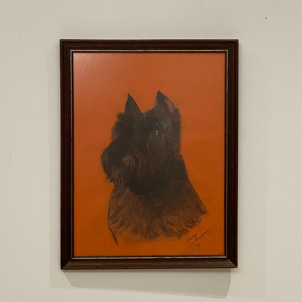 Charcoal Sketch of a Schnauzer, Circa Early 20th Century