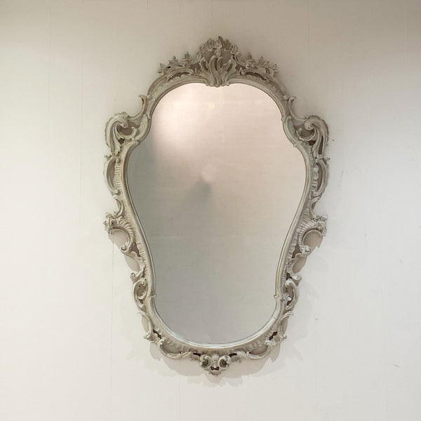 Circa 1920 Vintage Hand-Carved and Bone Painted Baroque Style Mirror, England
