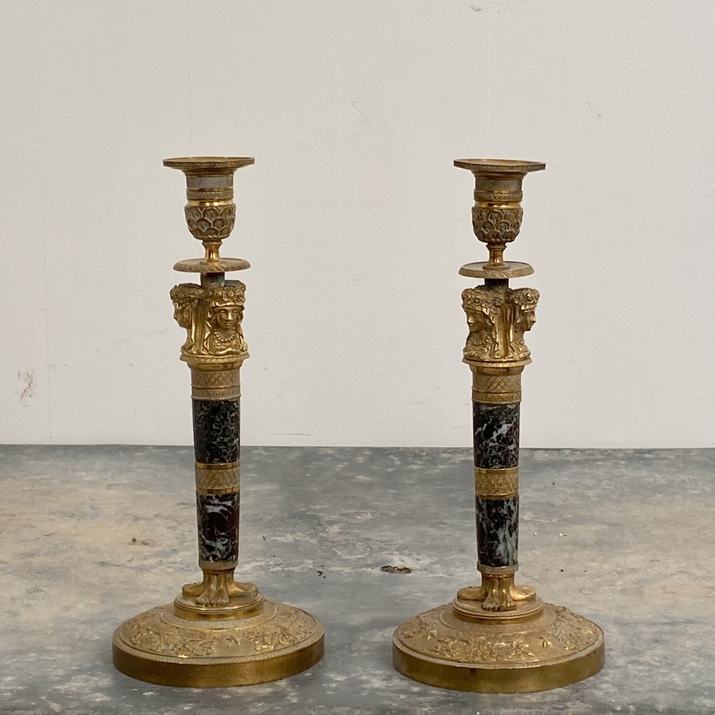Pair of Ormolu and Jasper Candlesticks, France Circa 1810