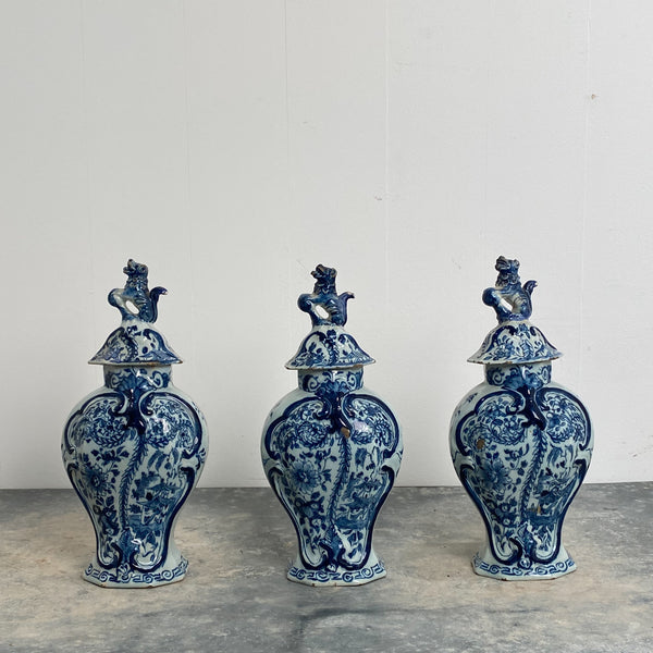 Set of 3 Delft Covered Jars, 18th Century Holland