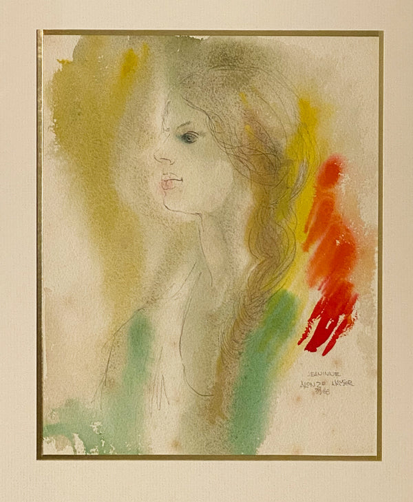 """Jeaninne"" 7/1/68 Watercolor, Signed Alonzo Hauser"