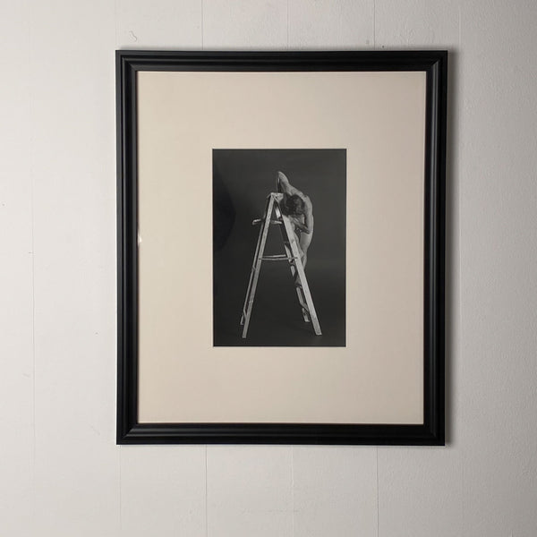 Vintage Art Photograph of a Man on a Ladder