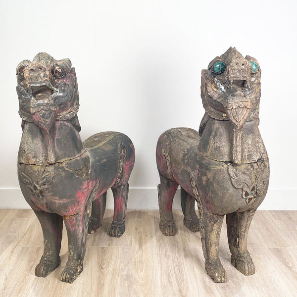 Pair of Temple Lions, SE Asia 19th Century